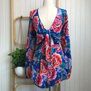 Billabong Long Sleeve Tie Front Floral Playsuit Elastic Waist